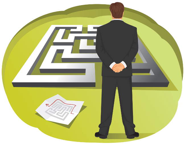illustration of a businessman in front of a maze