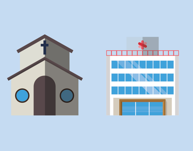illustration of a church and a hospital