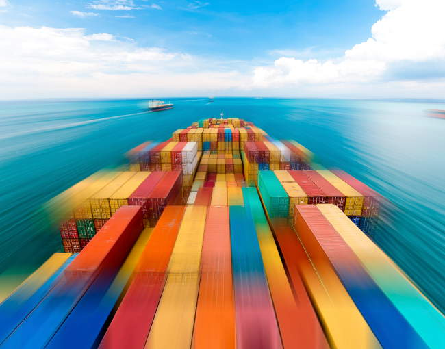 container ships in motion