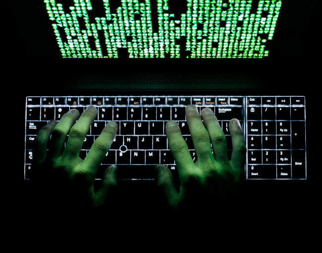 cyber hacker with computer