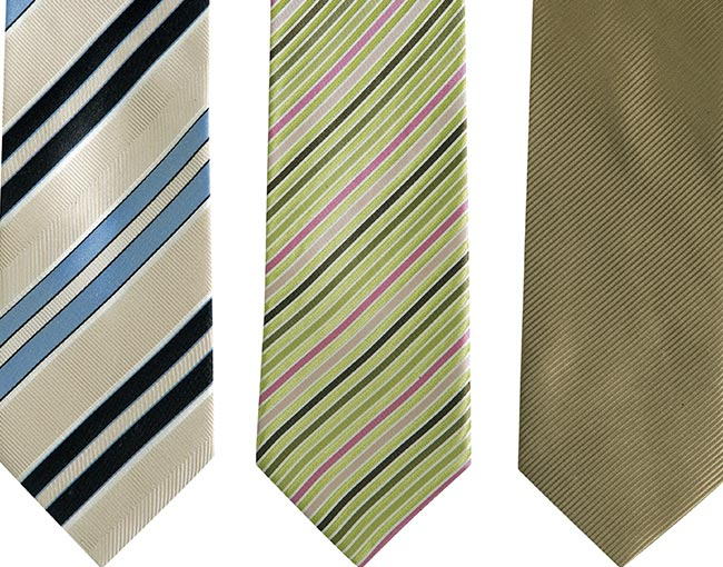 row of fashion ties