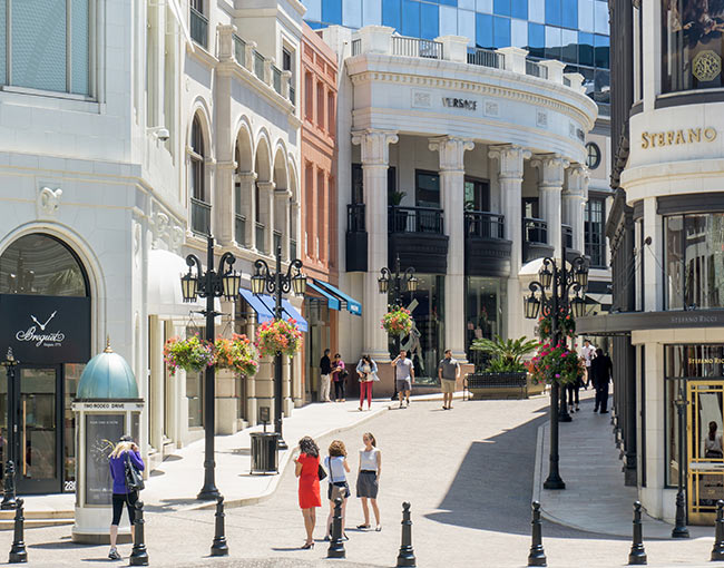 shops on Rodeo Drive in Beverly Hills
