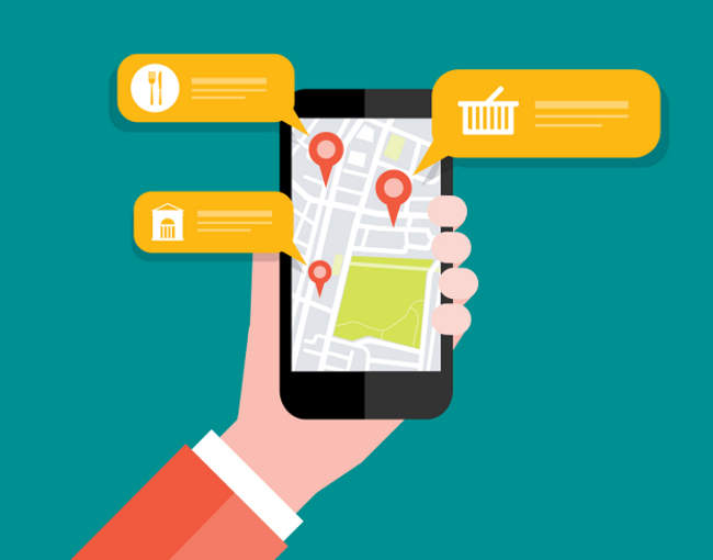 illustration of a mobile app displaying geolocation