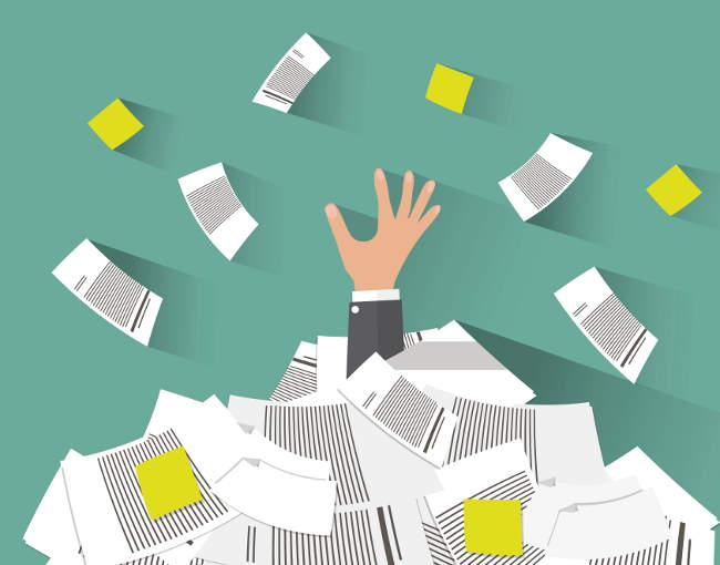 illustration of person drowning in paperwork