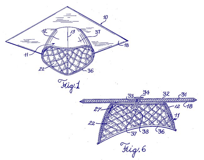 Patent drawing of graduation mortarboard