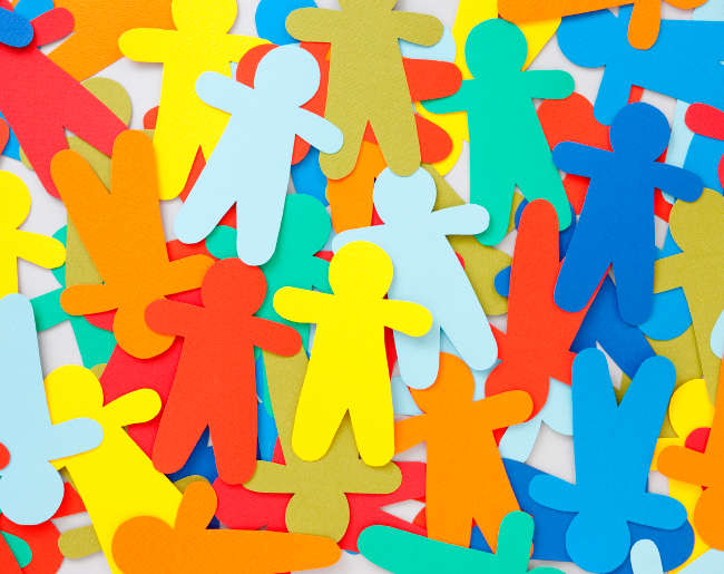 paper cut-outs of people
