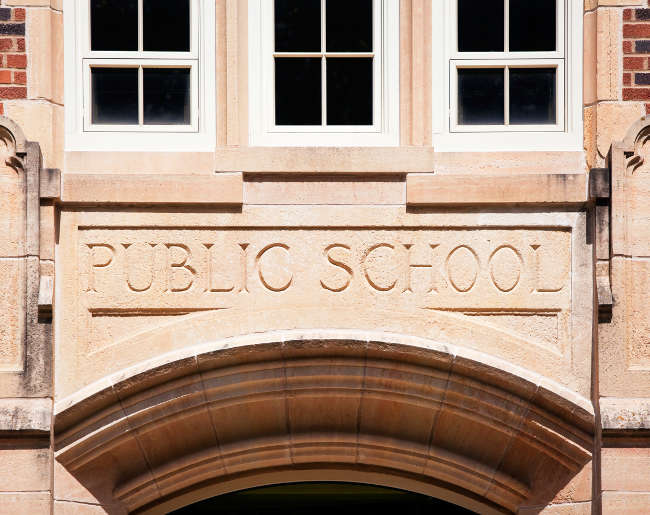 front of a public school
