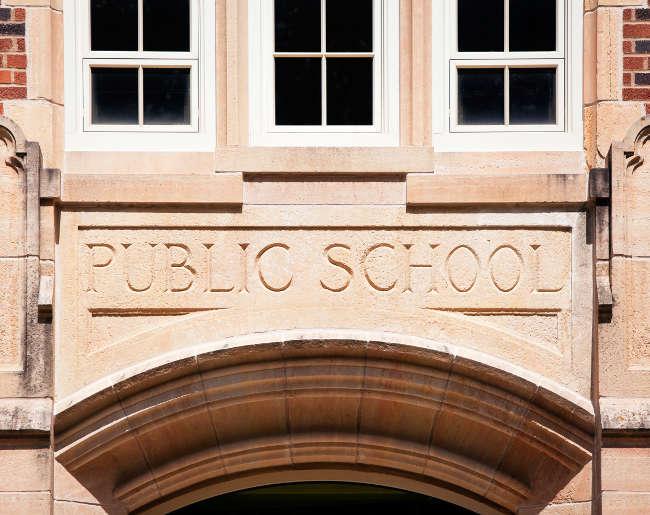front of a public school