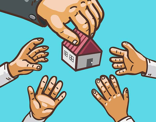 Illustrating of  a hand distributing real estate to other hands
