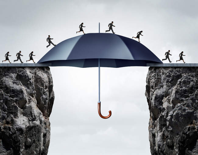 illustration of people using a large umbrella as a bridge over a cliff