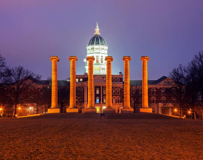 University of Missouri columns at night