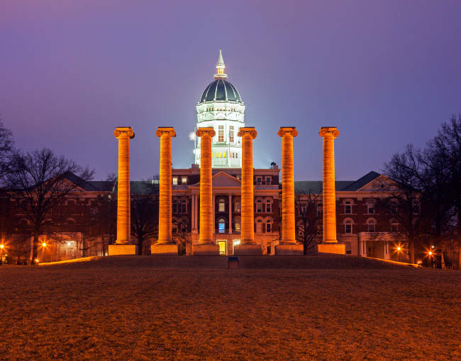University of Missouri columns at night