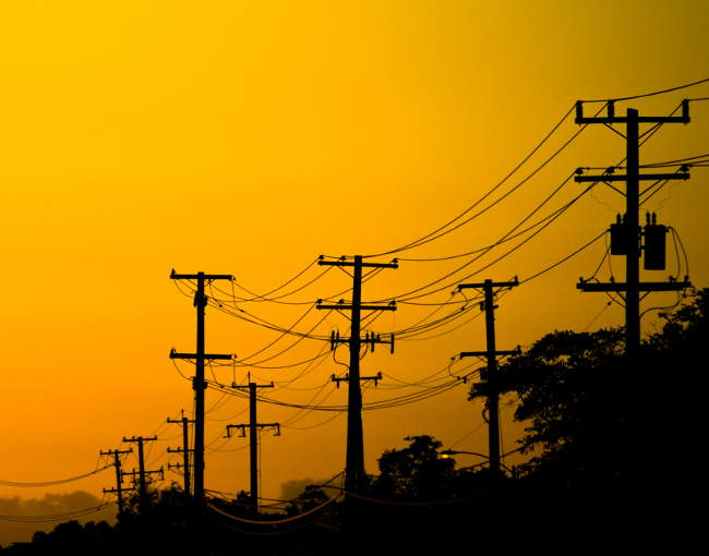 Utilities - power lines at sunset