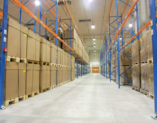 warehouse interior with stacked boxes