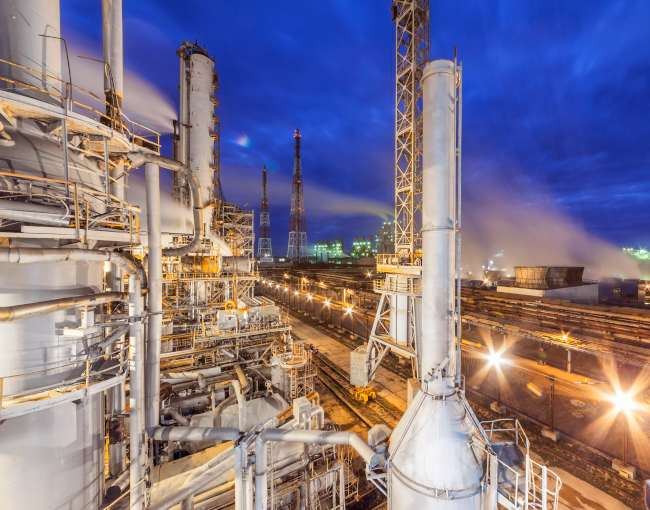 An ammonia plant at night