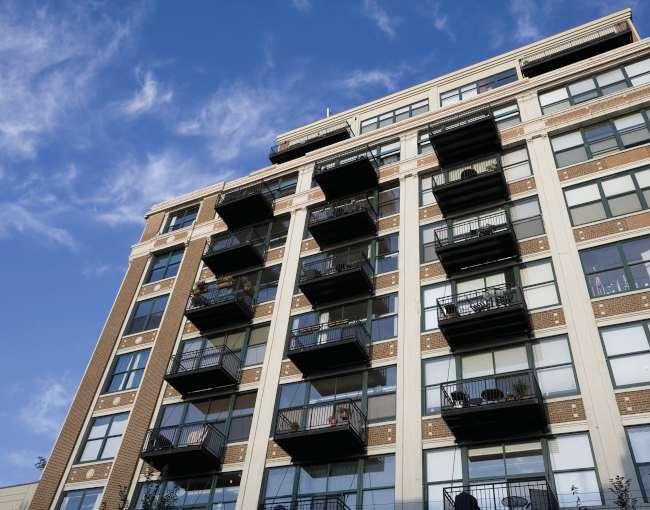 A multi-unit apartment building