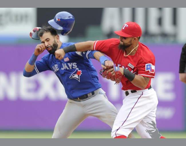 Rougned Odor hitting Jose Bautista