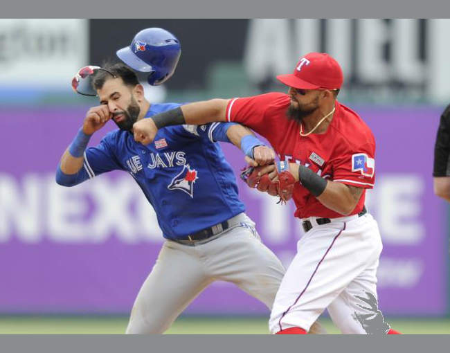 Rougned Odor hitting Jose Bautista