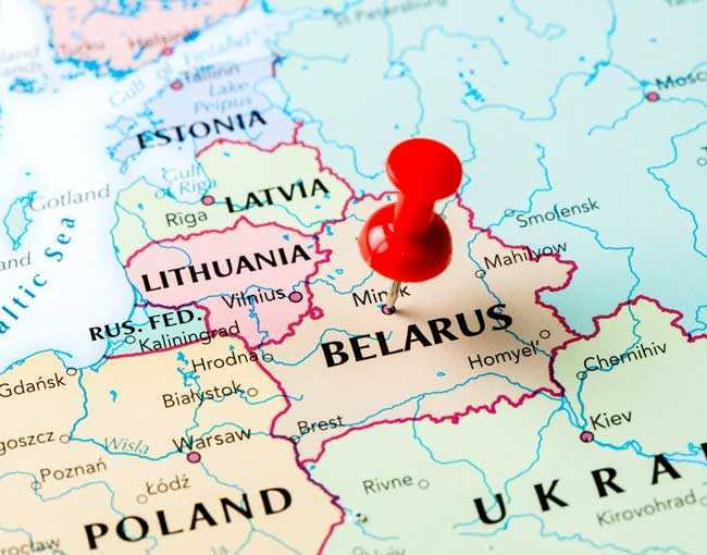 Map of Belarus with thumb pin