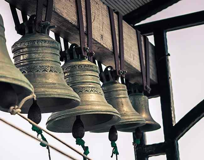 Church bells hanging in a bell tower