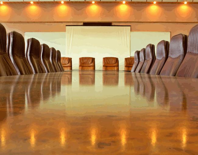 An empty corporate board room
