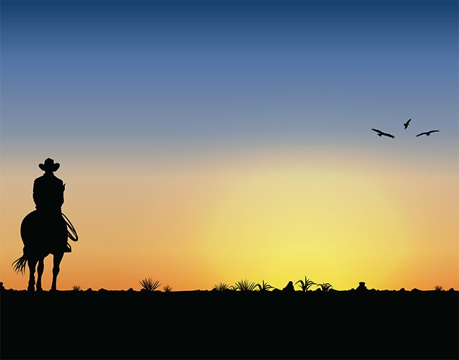 An illustration of a cowboy riding into a sunset