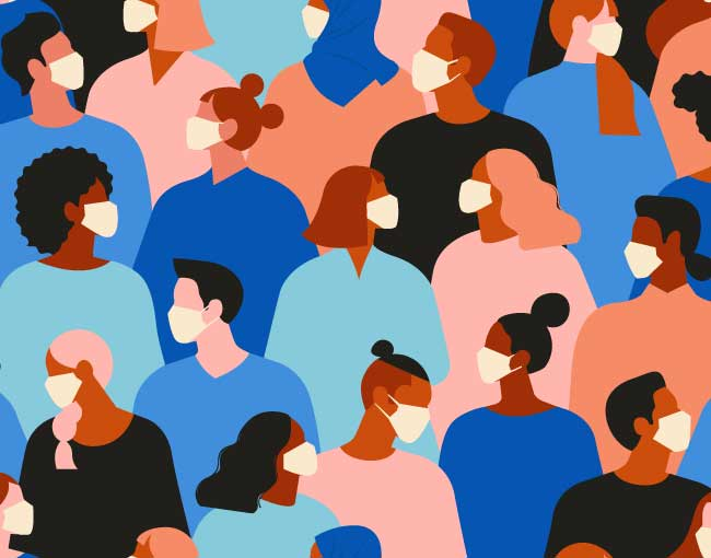 Illustration of a diverse crowd all wearing medical masks