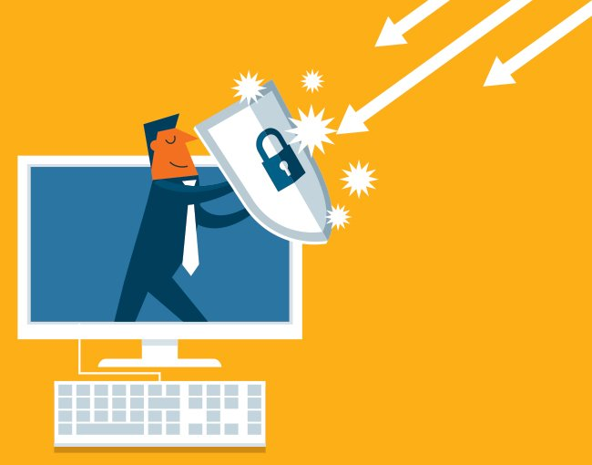 Illustration of man using shield to protect computer