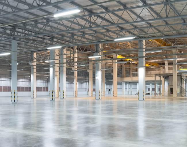 Empty warehouse floor
