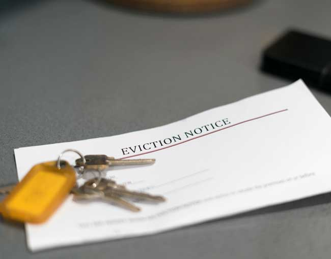 An eviction notice with a key