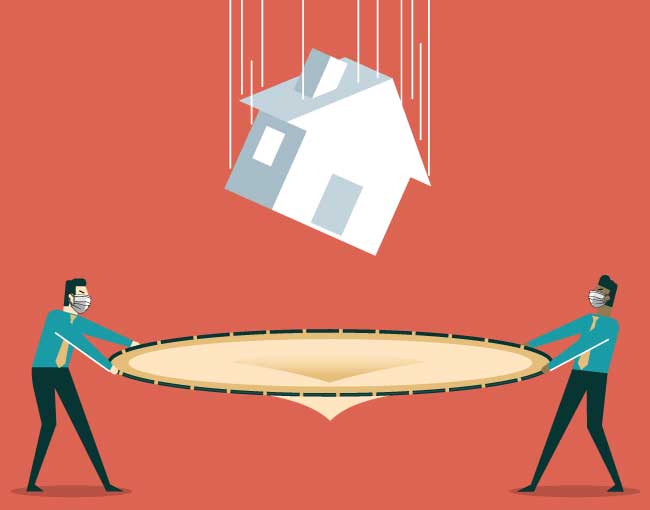 Illustration of two people catching a falling house with a trampoline