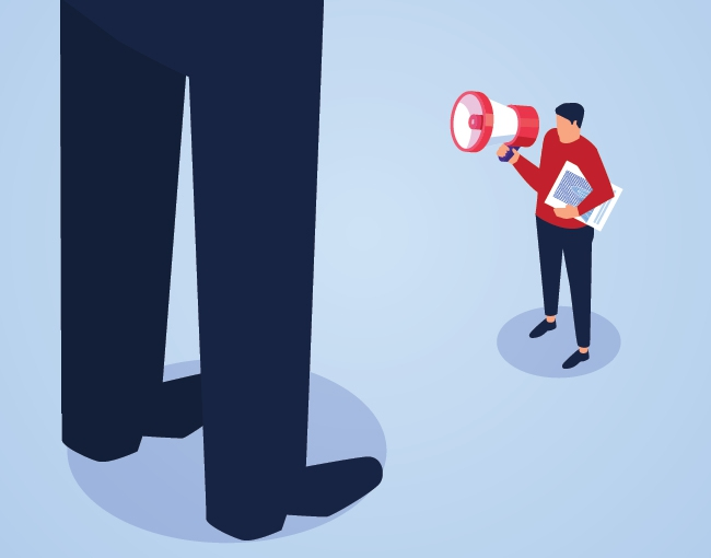 Illustration of small person with megaphone talking to large person