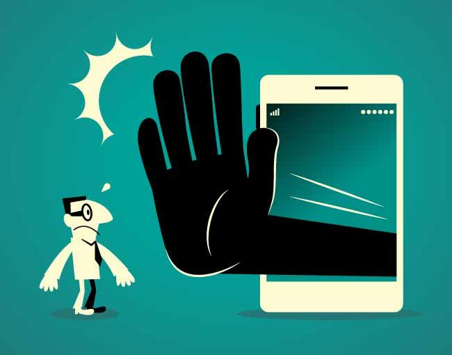 Illustration of large hand reaching out from phone to halt a user