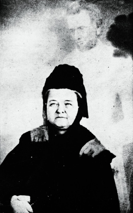 """Mary Todd Lincoln with the """"ghost"""" by Lincoln"""