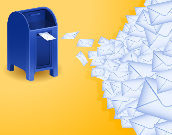 An illustration of envelopes flooding into a mailbox