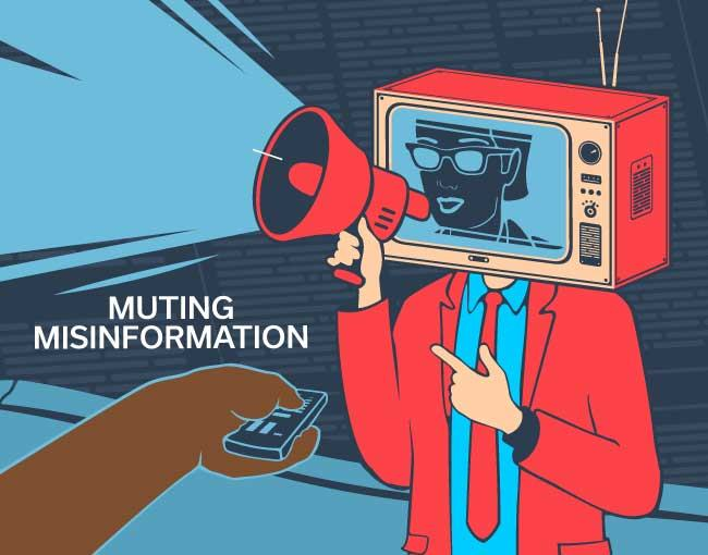 Illustration of a figure with a TV head speaking through a megaphone, and someone changing the channel