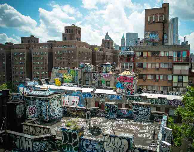 A New York building covered in graffiti