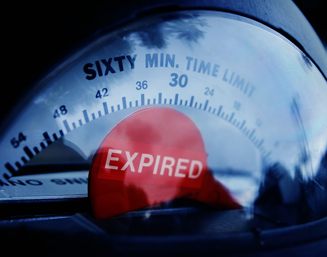 Parking meter with expired time