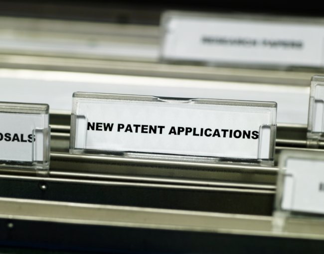 A file labelled for new patent applications