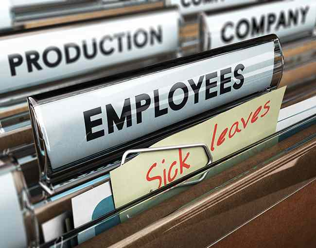 Employer files with sick leave tag