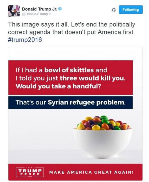 Donald Trump Jr Skittles tweet