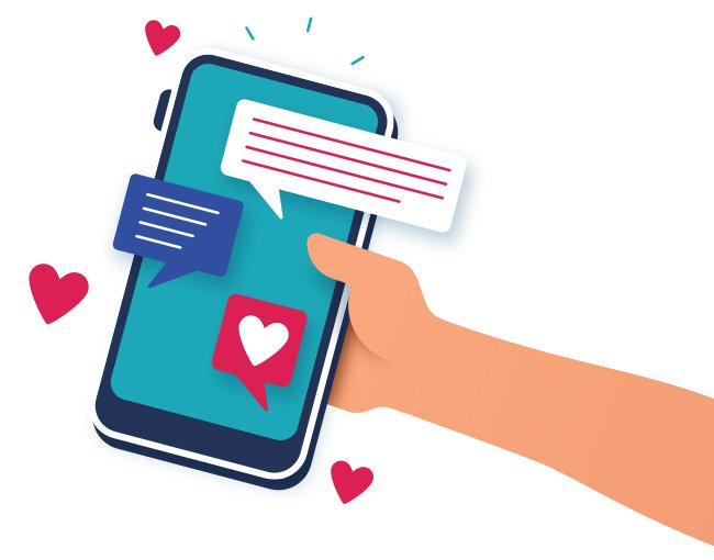Illustration of a hand holding a smartphone with an open dating app
