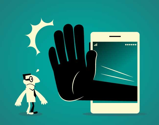 Illustration of hand in a phone stopping a man