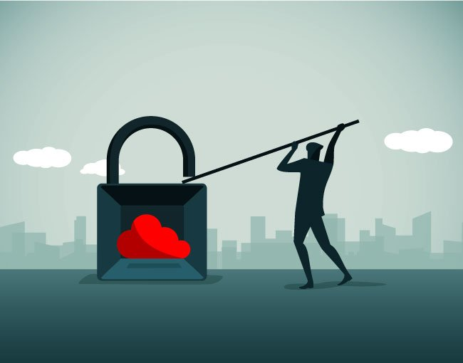 Illustration of man prying open a lock containing a cloud