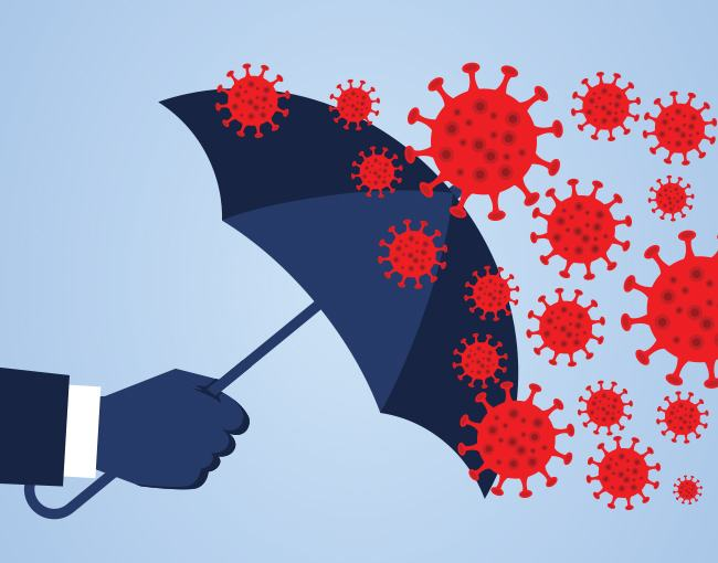Illustration of an umbrella protecting a hand from a virus