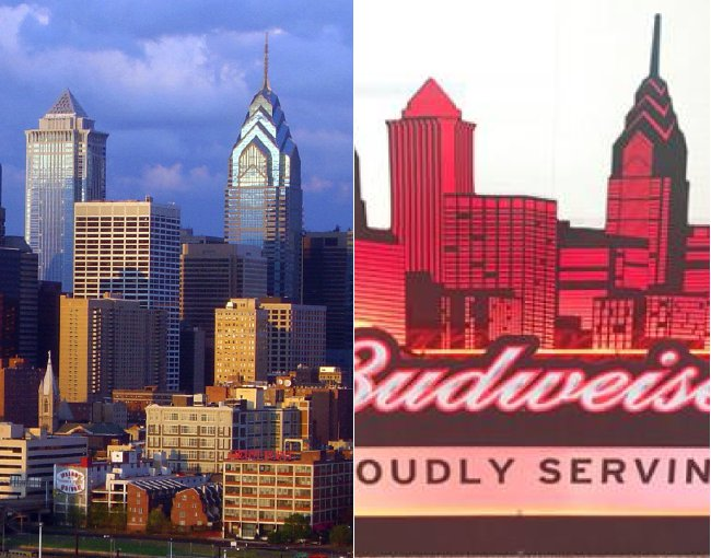 Side by side comparison of a photo of Philadelphia skyline and a window sign