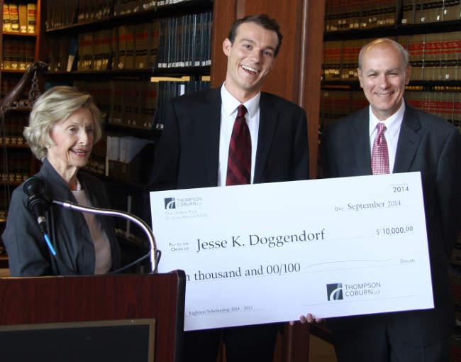 Eagleton Scholar Jesse Doggendorf with Barbara Eagleton and Tom Minogue