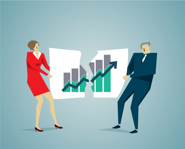 woman and man rip a business chart in half