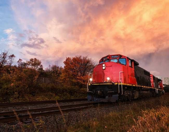 Train engine on railroad tracks