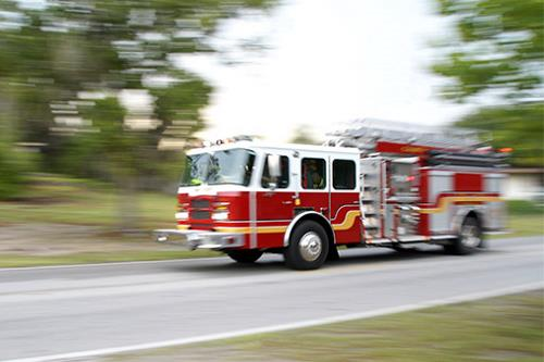 fire engine driving down the road